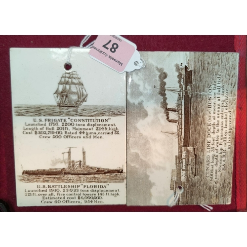 87 - A pair of American china calendar plaques, transfer decoration of ships, Jones, McDuffee & Stratton ...