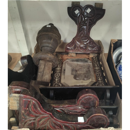96 - An ebony and bone inlaid mirror, in need of restoration; other carved wooden items