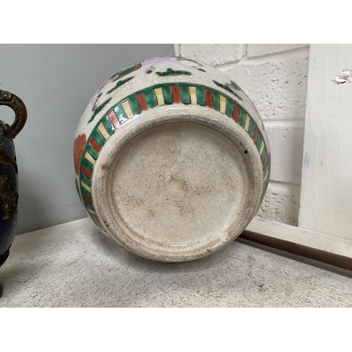 300A - A Chinese crackle glazed ginger jar and a Japanese cloisonne vase.