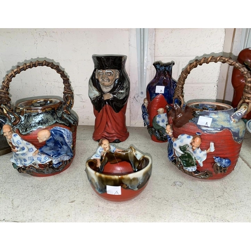 330A - A selection of Japanese studio pottery and a Japanese character jug with seal marks, 2 tea pots etc
