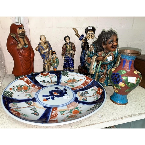 330B - A selection of Japanese and Chinese figures, an Imari dish etc