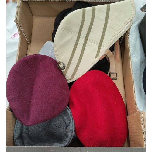 130E - A selection of Military style hats etc