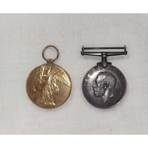 147 - A WWI pair of medals to 318696 Bmbr A.H.G.Wood. R.A