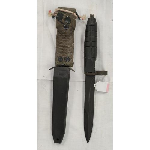 151 - A modern Bayonet with black plastic and webbing sheath, blade 16.5cm
