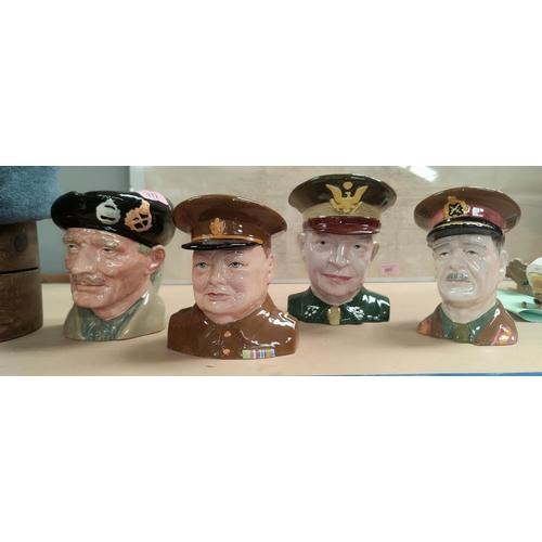 172 - A Royal Doulton character jug 'Monty' (second), 3 similar jugs: Sir Archibald Wavel, Churchill & Eis...