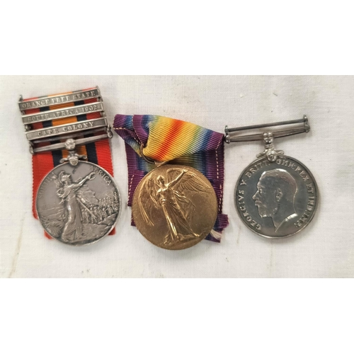 190 - A Boer War/WWI group of three comprising QSA 3 clasps, War and Victory Medals to 1258 Pte W.G, Manse...