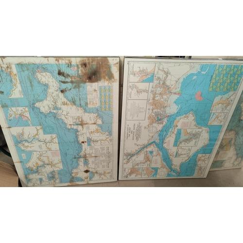 128B - Four West Coast of England Marine Maps mounted on board, Cardigan Bay etc. 1972, 102 x 69cm