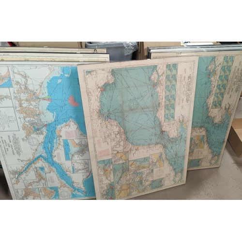 128C - Five English Chanel Marine Maps in colour, 'The Needles to English Chanel' etc.  71 x 100cm