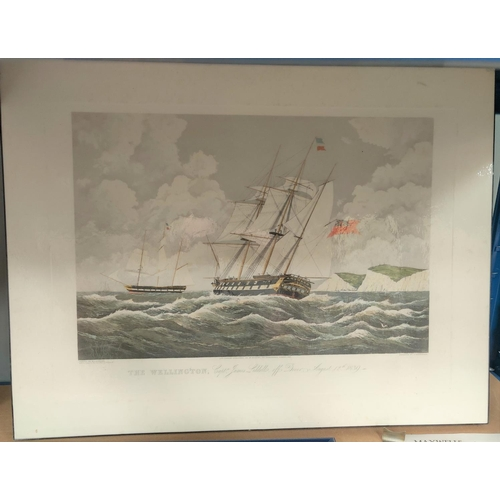 128E - Three mounted prints of ships: Yachts of America's Cup 'The Schooner', 'HMS Winchester' and the 'Wel...