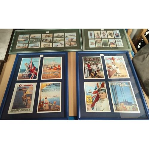 128F - Two sets of 4 framed advertising marine postcards; 2 framed sets of Deep Sea Diving cigarette cards ...