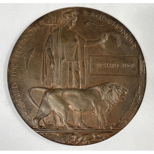 213 - FIRST DAY BATTLE of the SOMME CASUALTY, a bronze memorial plaquie in memory of 14012 RICHARD EDGE 1s...