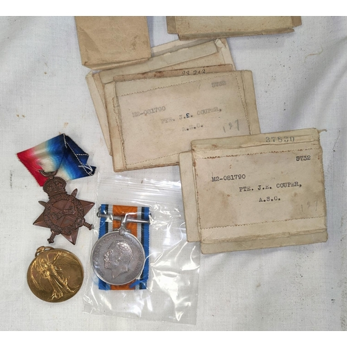 194 - A WWI 1915 Star trio of medal to M2 - 081790 Pte J. Cooper A.S.C. with boxes