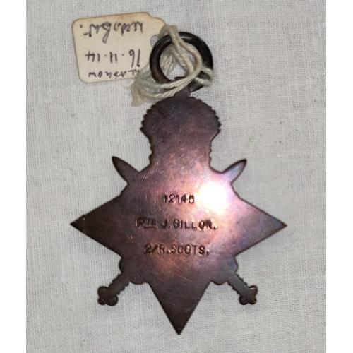 196 - A WWI 1914 Star medal to 12145 Pte J. GILLON 2/R.Scotts K.I.A. 16th November 1914