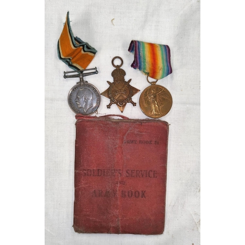 197 - A WWI 1915 Star trio of medals to 69198 SDLR. SG HANDSCOMB R.F.A.
