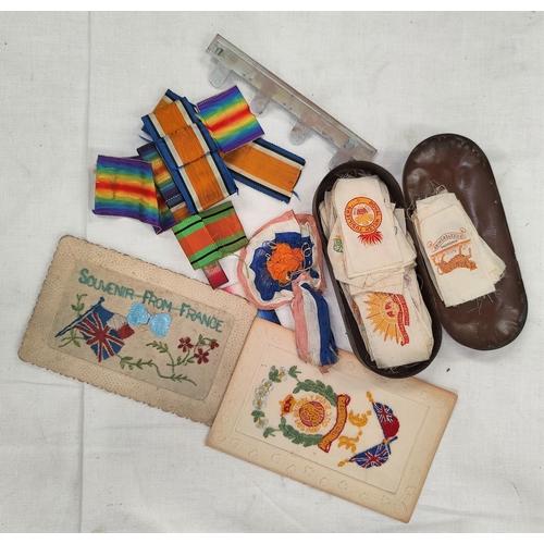204 - A collection of WWI era cigarette silks depicting regimental badges (55), 2 postcards etc