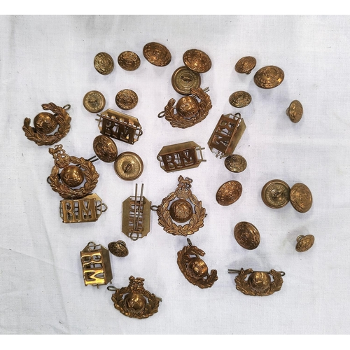 205 - A collection of 7 Royal Marine cap badges, 6 shoulder tags and a quantity of buttons etc