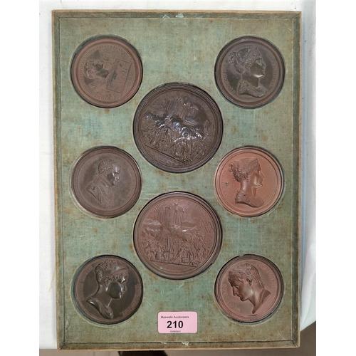 210 - NAPOLEON BONAPARTE: a set of ten copper wash lead cliche medal copies depicting Napoleon Josephine, ...