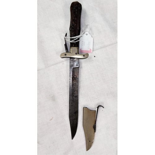 215 - A 19th century folding hunting/combat knife stag horn sides, nickel mounts and blade sheath, marked ...