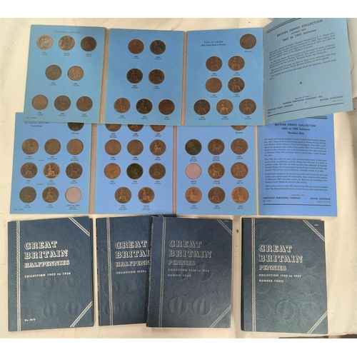 222 - A collection of GB pennies and half pennies in 6 Whitman folders, including some key dates.