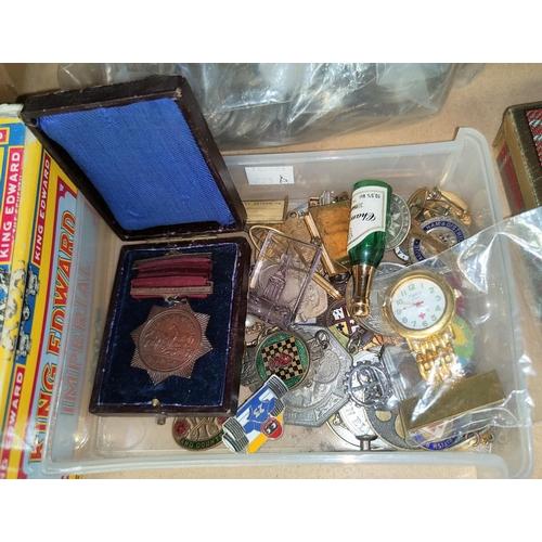 223A - A quantity of costume jewellery, badges etc.