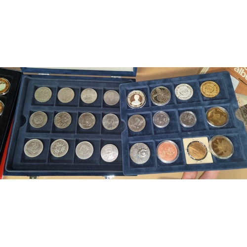 225 - Two collectors cases of crowns and collectable coins and medallions.