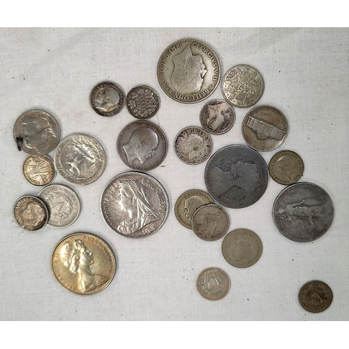 235 - A selection of coins with silver content