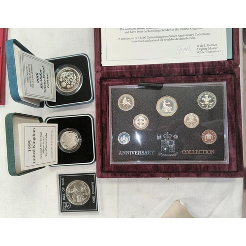 240A - GB: 1996 Decimalisation silver Anniversary Collection cased, a silver proof Crown 1990, a similar 19...
