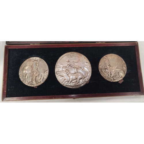 242 - After PISANO: a group of three 19th century electrotype copy medals on terracotta bases with seal ma...