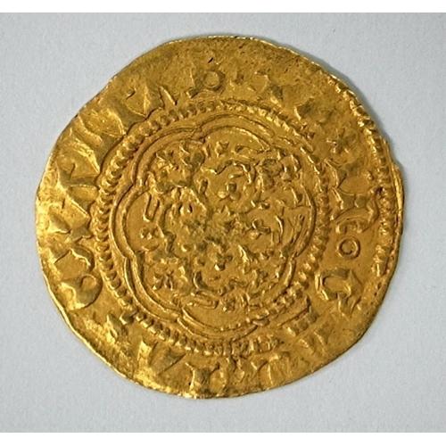 293 - GB: Edward III gold quarter noble, fourth coinage, treaty period, 1361-1369
