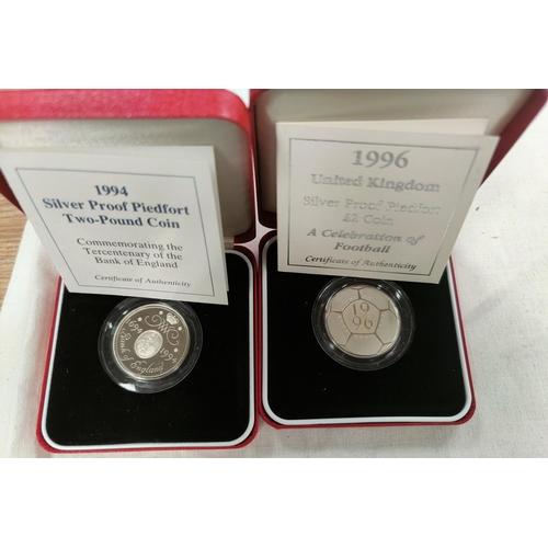 257A - GB: silver piedforts- £2, 1994, £2 football 1996