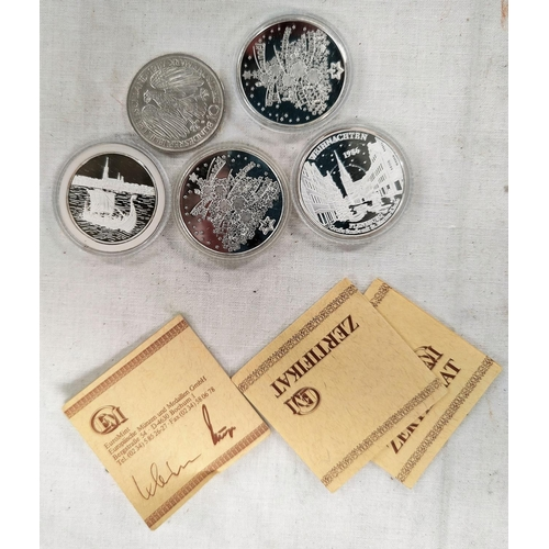295A - Germany 10 marks 1987, medallions 86-88 (3) and another, silver