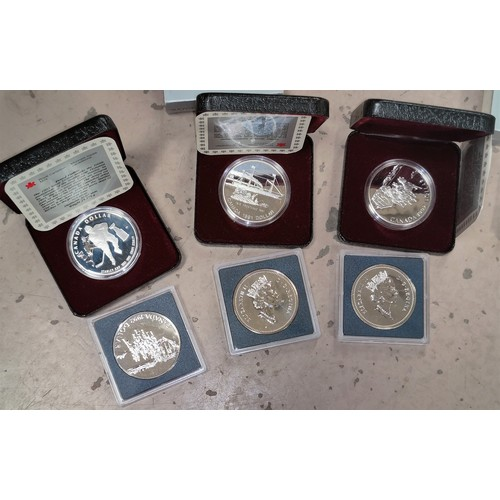 232 - CANADA - 3 silver proof dollars, 1991 - 1993 and 3 matching dollars