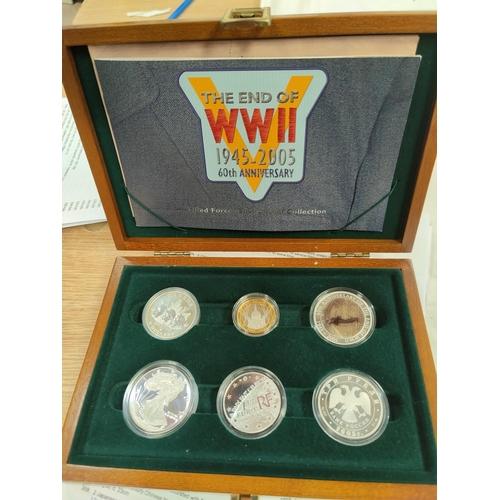 294 - An allied forces silver coin set 1945-2005, GB £2, Canada $5, USA $1, Australia $1, France 1.5 Euro ...