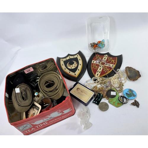 34 - An 1891 crown; enamel pendants; costume jewellery; military items; bric-a-brac
