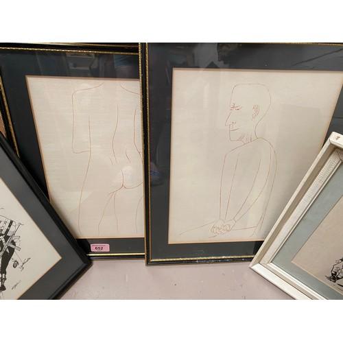 32 - Ben Sharne:  Pair of prints of line drawings, 1 artist signed; 4 x 1970's/80's political cartoon pri...