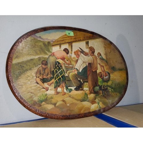39 - A possibly Scottish oval painting on wood, of a family scene outside a thatched cottage, little boy ...