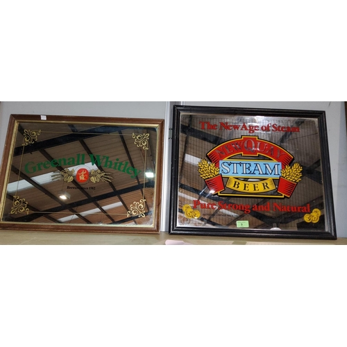 9 - A Greenall Whitley pub advertising mirror framed 36 x 50; another Newquay steam beer 41 x 50