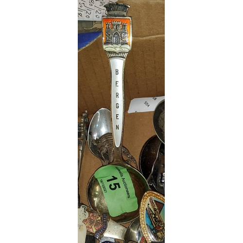 15 - A Norwegian Th. Marthinsen enamel Stirling spoon  for Bergen, two white metal Egyptian style spoons ...
