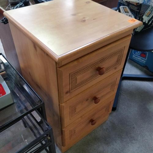 12 - Pine 3 Drawer Bedside