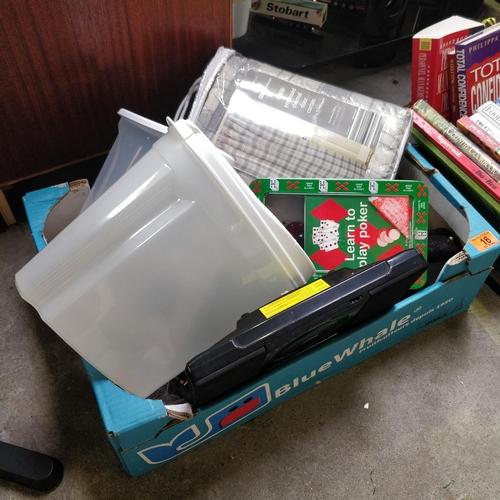 16 - Box Lot Inc DVD Player, Poker Set etc