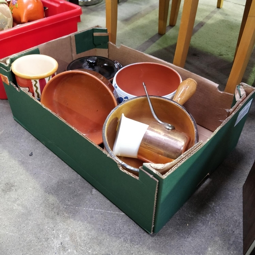 56 - Assorted Box of Crockery Pans etc;
