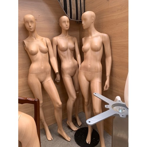 274 - 3 Wood Effect Female Mannequins - Incomplete & No Stands