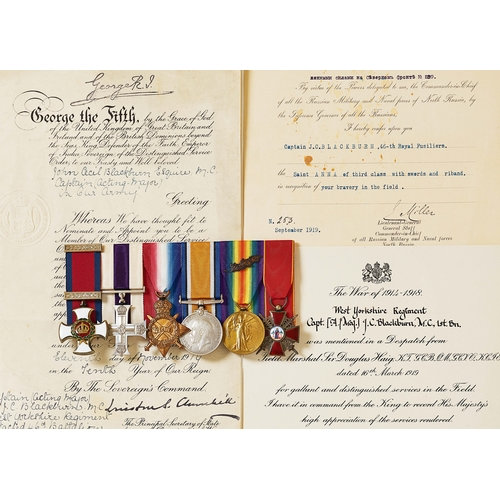 45 - West Yorkshire Regiment WW1 / North Russia Expedition DSO, MC Russian Order of St.Anne Group of Six ...