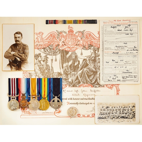 47 - WW1 Welsh Regiment Cardiff Pals Military Medal, Greek Military Cross Group of Five Medals. Awarded t...