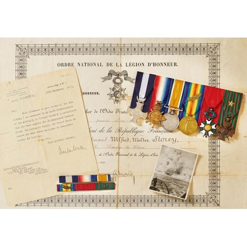 55 - WW1 Royal Navy DSC, French Legion D'Honneur, Croix de Guerre Group of Six Medals. Awarded to Lieuten...