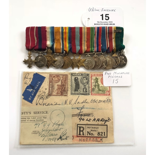 15 - Miniature Medals of Brigadier Norman Vause Sadler OBE DCM., TD Awarded to Brigadier Norman Vause Sad...