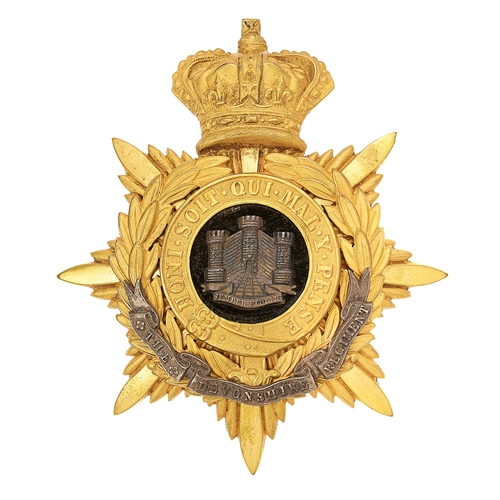 1 - Devonshire Regiment Victorian Officers helmet plate circa 1881-1901.
