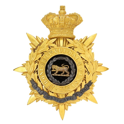 2 - Hampshire Regiment Victorian Officers helmet plate circa 1881-1901.