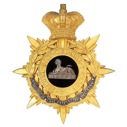 4 - East Lancashire Regiment Victorian Officers helmet plate circa 1881-1901.