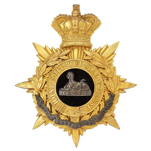 6 - South Lancashire Regiment Victorian Officers helmet plate circa 1881-1901.Fine rich gilt crowned st...
